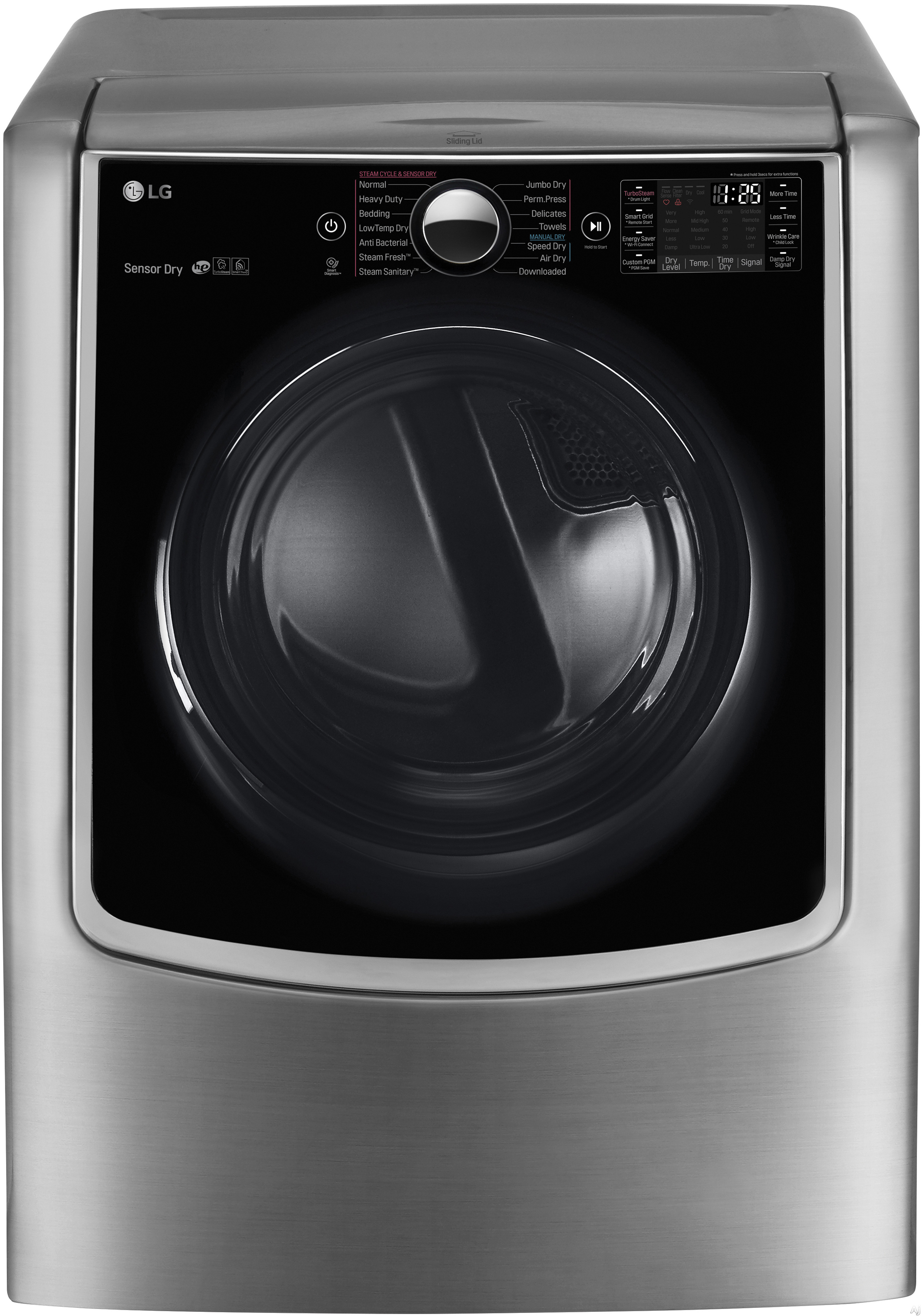 LG TurboSteam Series DLEX9000V 29 Inch 9.0 cu. ft. Electric Dryer with Sensor Dry Smart ThinQ Wi Fi Wrinkle Care 14 Dry Cycles 5 Temperature Selections and ENERGY STAR Qualification Graphite Steel