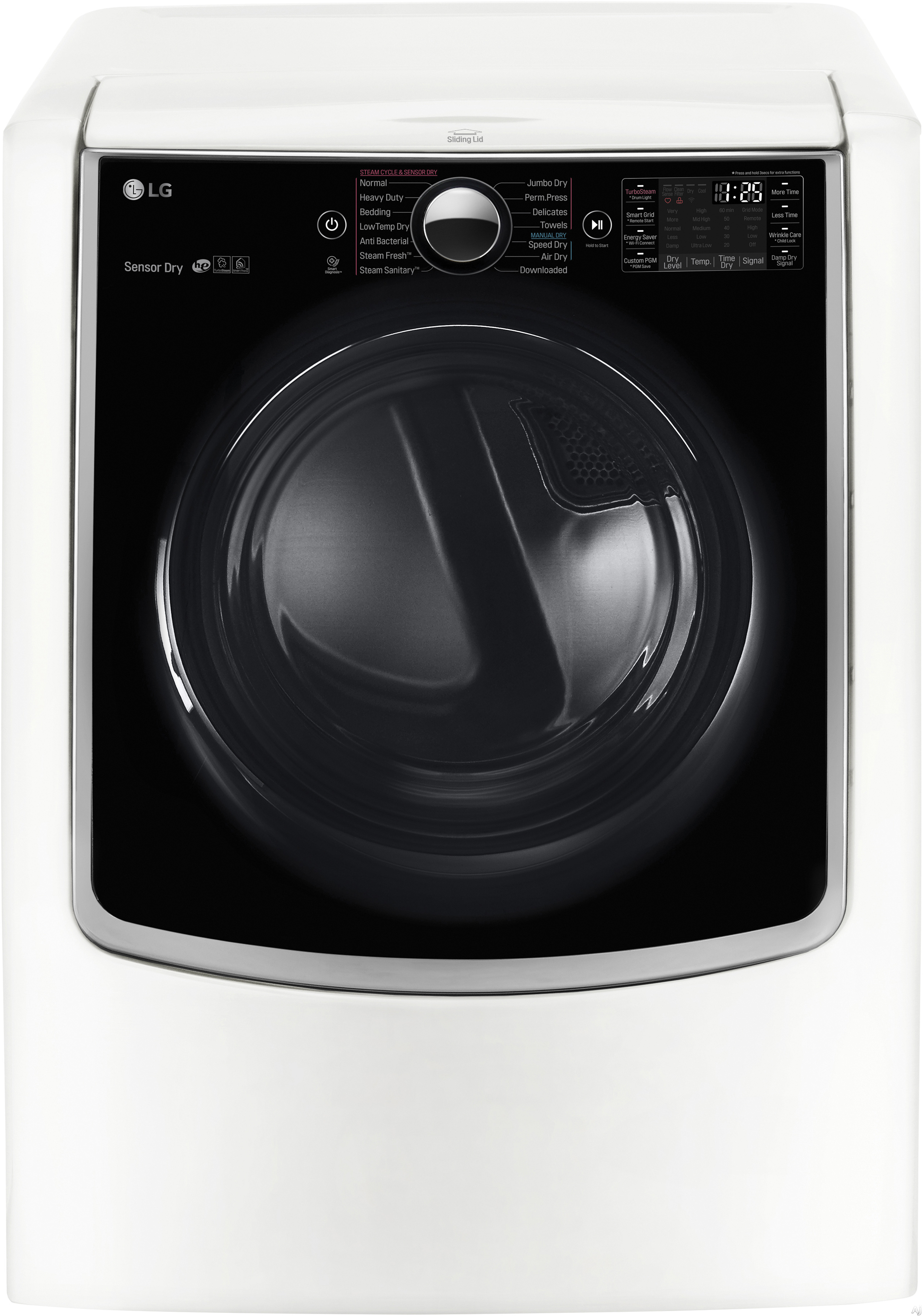 LG TurboSteam Series DLEX9000W 29 Inch 9.0 cu. ft. Electric Dryer with Sensor Dry Smart ThinQ Wi Fi Wrinkle Care 14 Dry Cycles 5 Temperature Selections and ENERGY STAR Qualification White