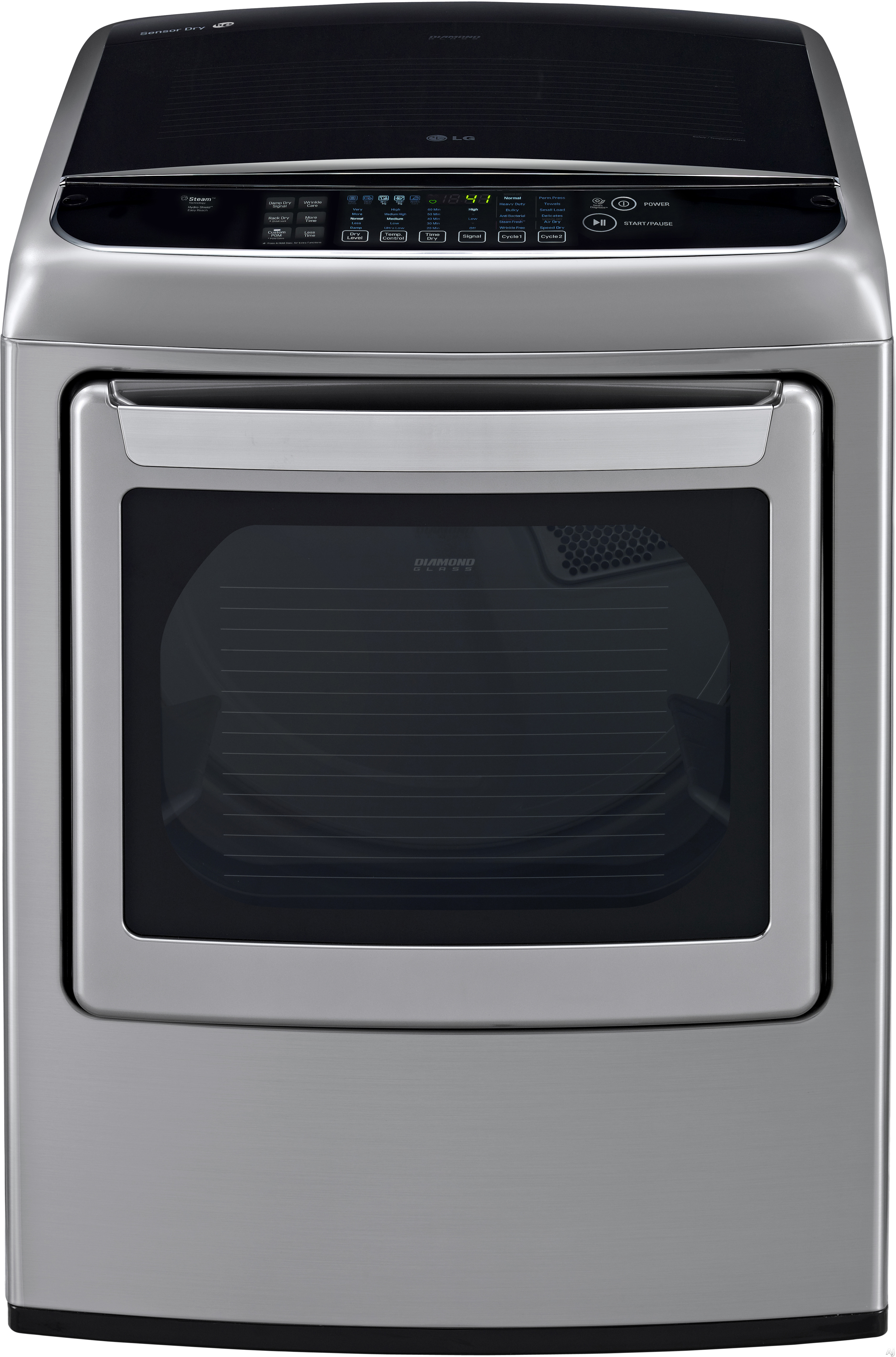 LG SteamDryer Series DLEY1701VE 27 Inch 7.4 cu. ft. Electric Dryer with 12 Dry Programs Steam EasyLoad Door Wrinkle Free Program Speed Dry Smart Diagnosis LoDecibel Quiet Operation Sensor Dry and ENER