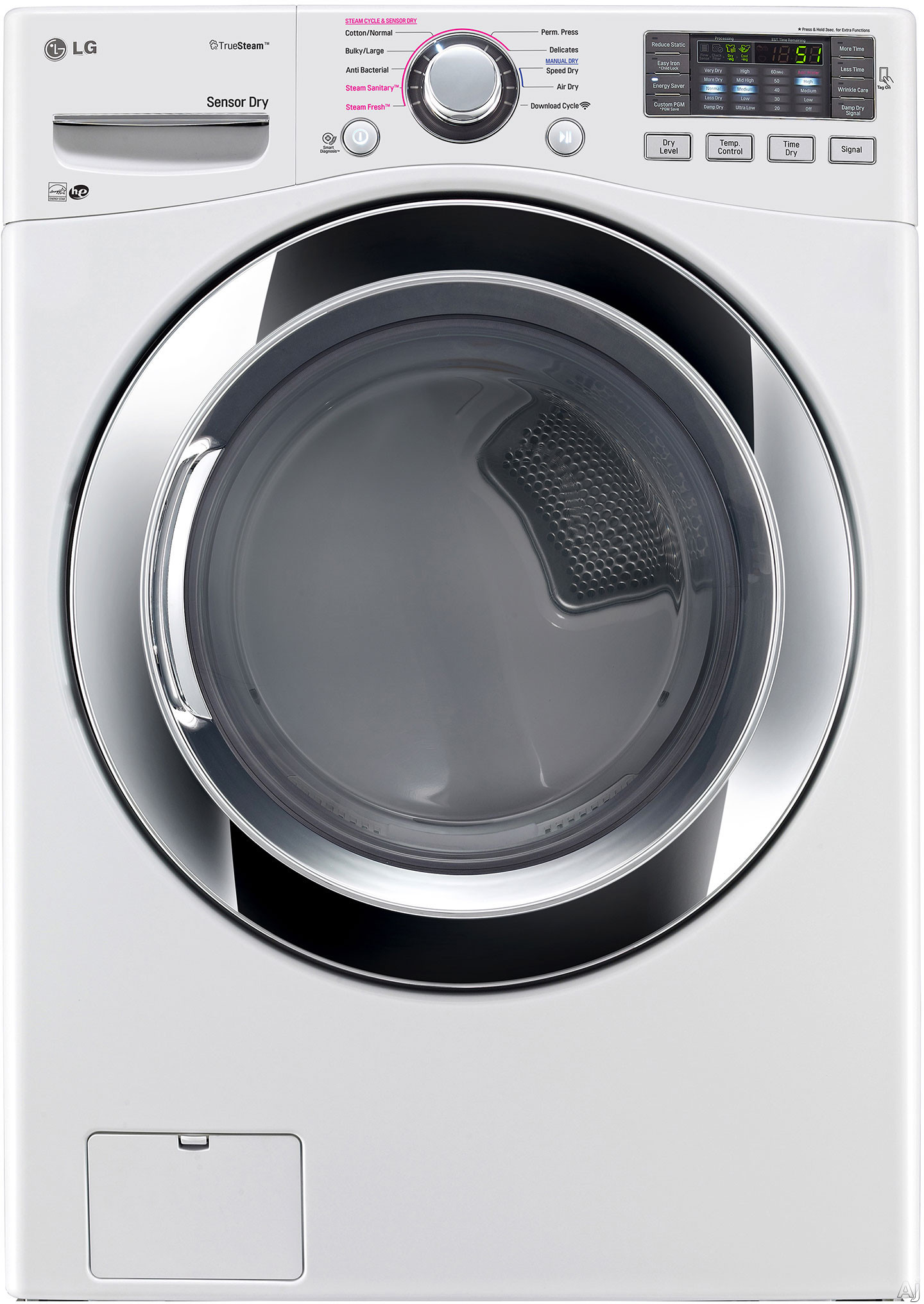 LG DLGX3371W 27 Inch 7.4 cu. ft. Gas Dryer with Steam Technology Anti Bacterial Cycle Wrinkle Care EasyIron Option ReduceStatic Option Speed Dry 10 Drying Programs 5 Temperature Settings Smart Diagnos
