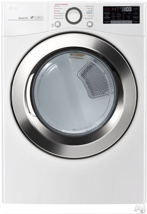 LG TurboSteam Series DLEX3700W 27 Inch 7.4 cu. ft. Electric Dryer with TrueSteam™ Technology, Sensor Dry, Wrinkle Care Option, Speed Dry Cycle, 12 Dryer Programs, 12 Options, SmartThinQ®, Sma