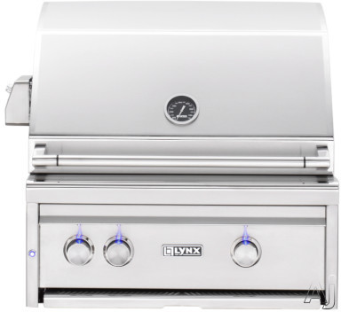 Lynx Professional Grill Series L27R3 27 Inch Built-in Gas Grill with 685 sq. in. Cooking Surface, Two 25,000 BTU Red Brass Burners, Hot Surface Ignition System, Blue LED Control Illumination, Hood Ass