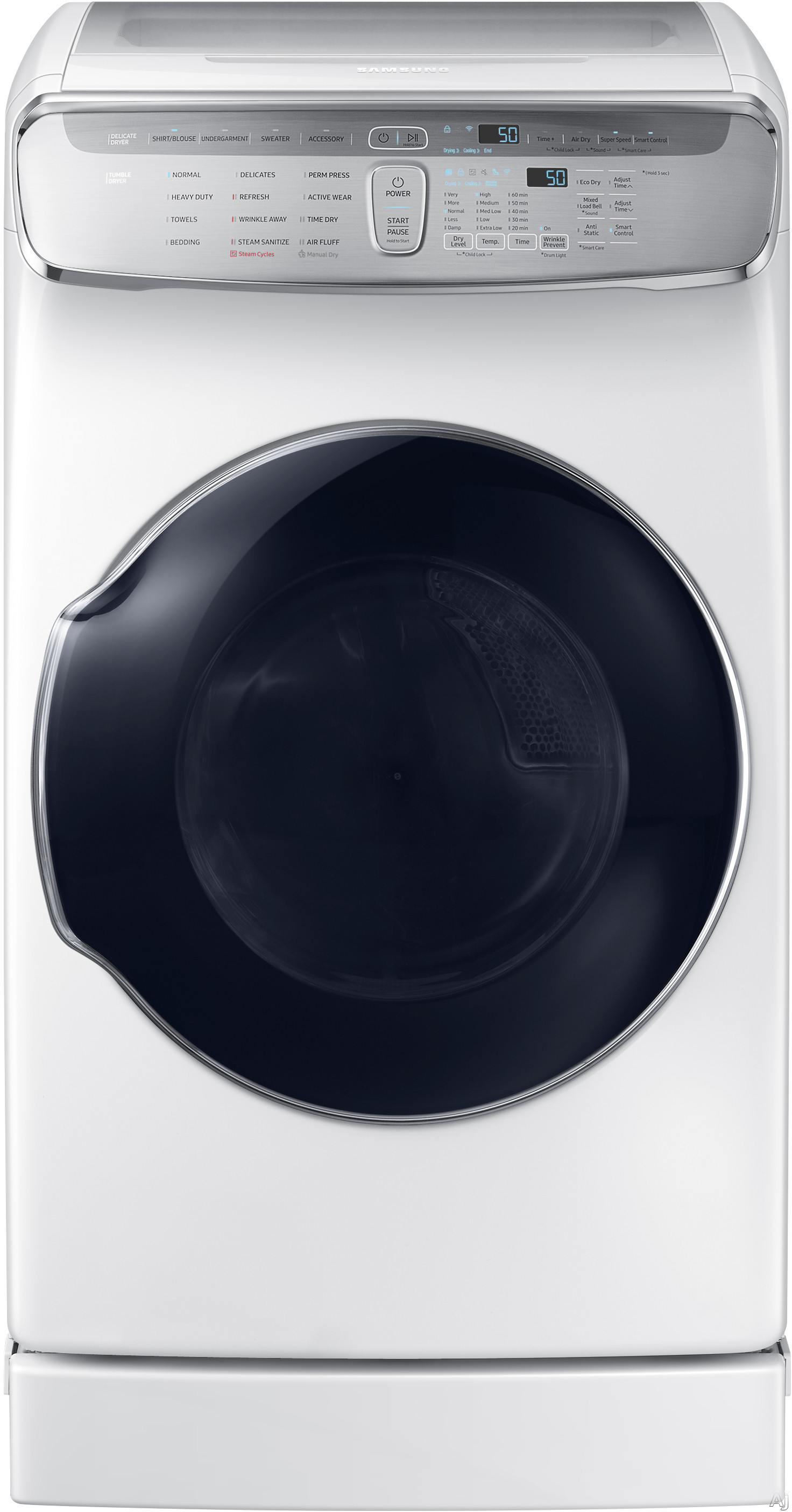"""Image of Samsung FlexWash DVE60M9900W 27 Inch FlexDryâ""""¢ Electric Dryer with Multi-Steamâ""""¢, Super Speed, Wi-Fi Connectivity, Sensor Dry, Drying Rack, 16 Dry Cycles, Wrinkle Prevent, Anti-Static Option, Smart Care and 7.5 cu. ft. Capacity: White"""