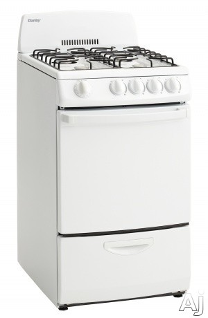 Danby DR200WGLP 20 Inch Freestanding Gas Range with 4 Open Burners, 2.4 Cu. Ft. Oven Capacity, 2 Oven Racks, 4 Adjustable Oven Rack Positions, Bottom Drawer Broiler and 3-Piece Broiler Pan: White