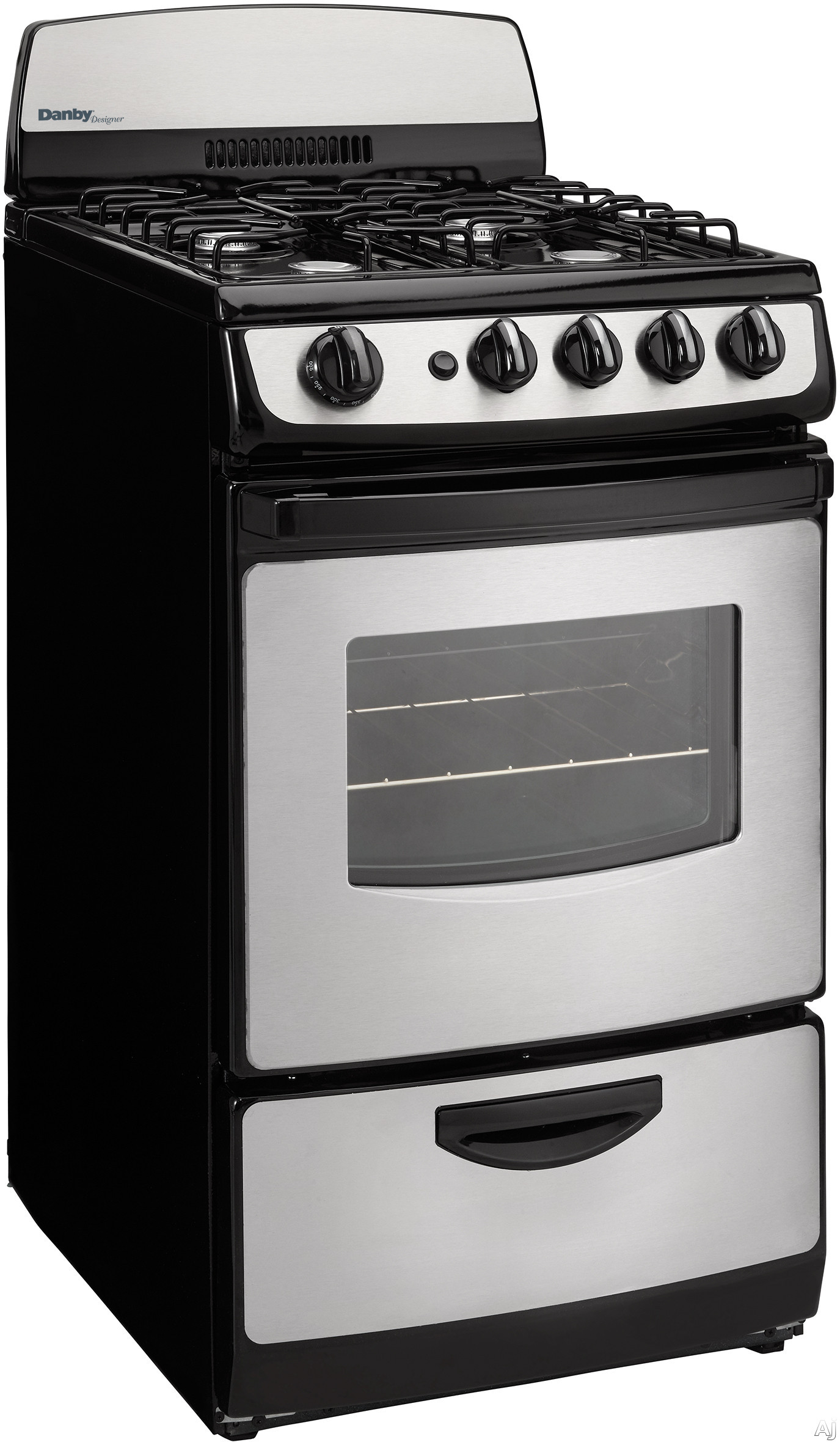 Danby Designer Series DR201BSSGLP 20 Inch Freestanding Gas Range with 4 Open Burners, 2.4 Cu. Ft. Oven Capacity, 2 Oven Racks, 4 Adjustable Oven Rack Positions, Bottom Drawer Broiler and 3-Piece Broil