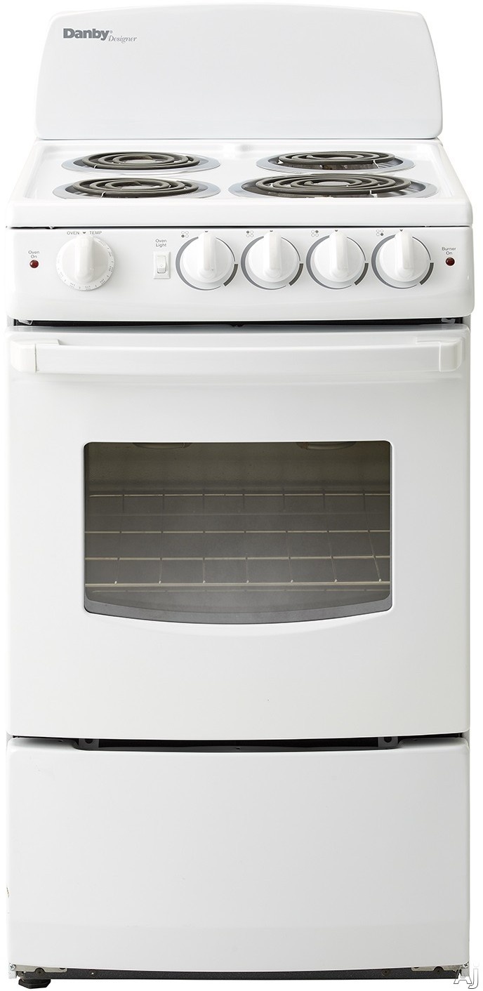 Danby Designer Series DER201W 20 Inch Freestanding Electric Range with 4 Coil Burners, 2.4 cu. ft. Oven Capacity, Large Oven Window, Hot Surface Indicator Lights, 2,400 Watt Broiler and Easy-Clean Por