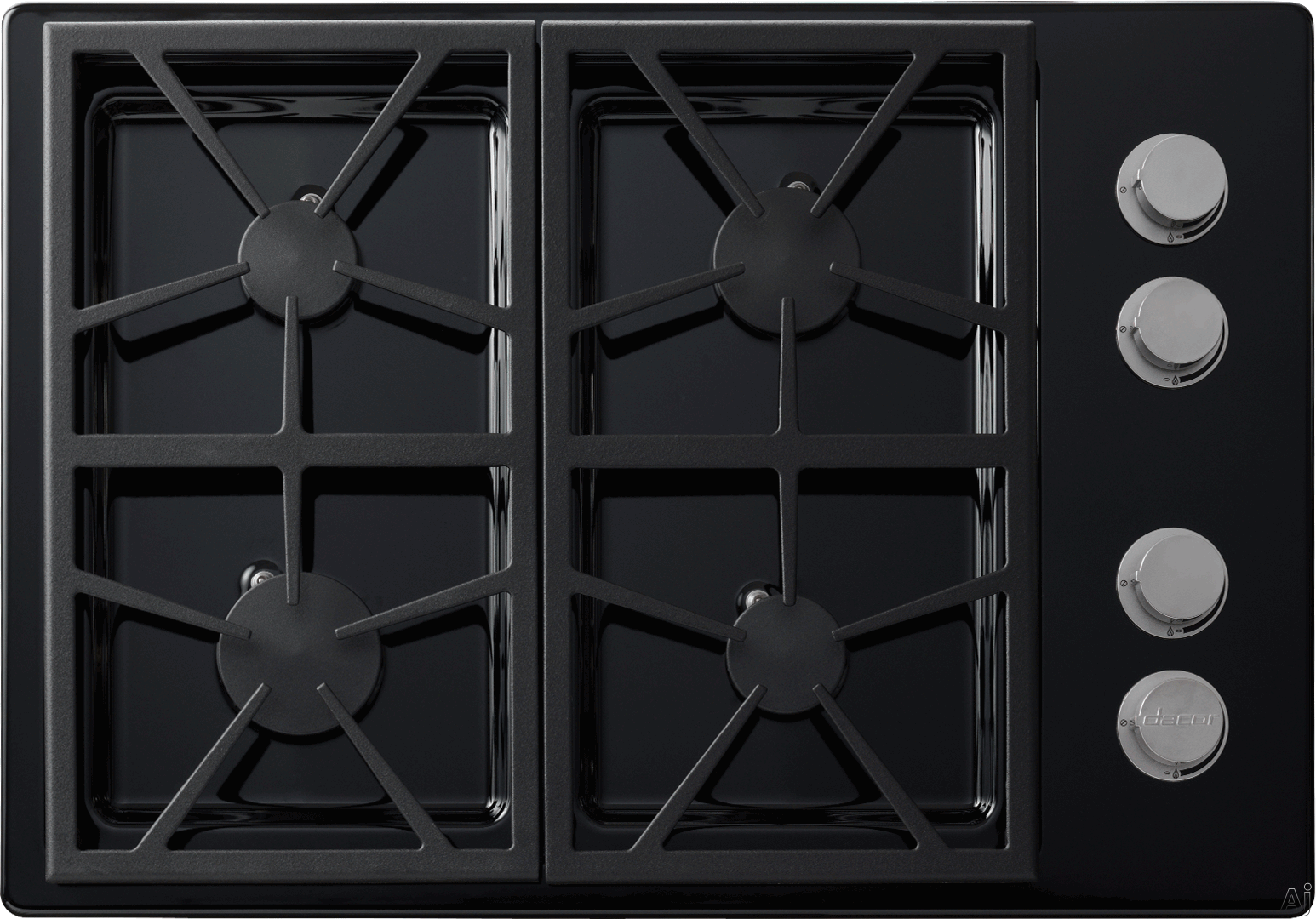 Dacor Distinctive DTCT304GBLPH 30 Inch Gas Cooktop with Perma-Flame Technology, SmartFlame Technology, Continuous Grates, 4 Sealed Burners, 43,500 BTUs, Spill Basin with PermaClean Finish and Downdraft Compatible: Black, Liquid Propane, High-Altitude