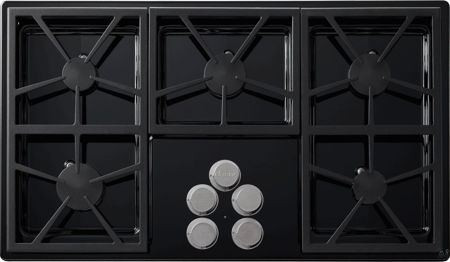 Dacor Distinctive DTCT365GBLPH 36 Inch Gas Cooktop with 5 Sealed Burners, 56,000 BTUs, Perma-Flame Technology, SmartFlame Technology, Continuous Grates, Spill Basin with PermaClean Finish and Downdraft Compatible: Black, Liquid Propane, High-Altitude