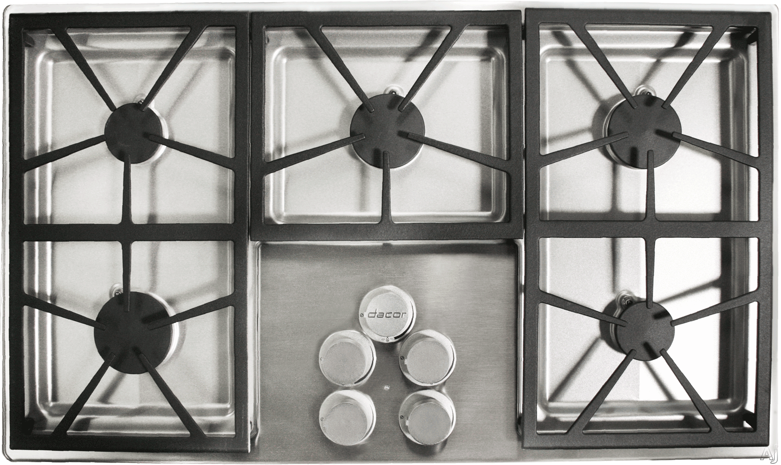Dacor Distinctive DTCT365GSNGH 36 Inch Gas Cooktop with 5 Sealed Burners, 56,000 BTUs, Perma-Flame Technology, SmartFlame Technology, Continuous Grates, Spill Basin with PermaClean Finish and Downdraft Compatible: Stainless Steel, Natural Gas, High-Altitu