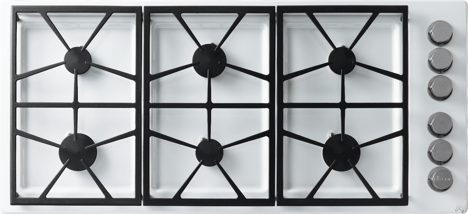 Dacor Distinctive DTCT466GWLPH 46 Inch Gas Cooktop with 6 Sealed Burners, 64,500 BTUs, Perma-Flame Technology, SmartFlame Technology, Continuous Grates, Spill Basin with PermaClean Finish and Downdraft Compatible: White, Liquid Propane, High-Altitude