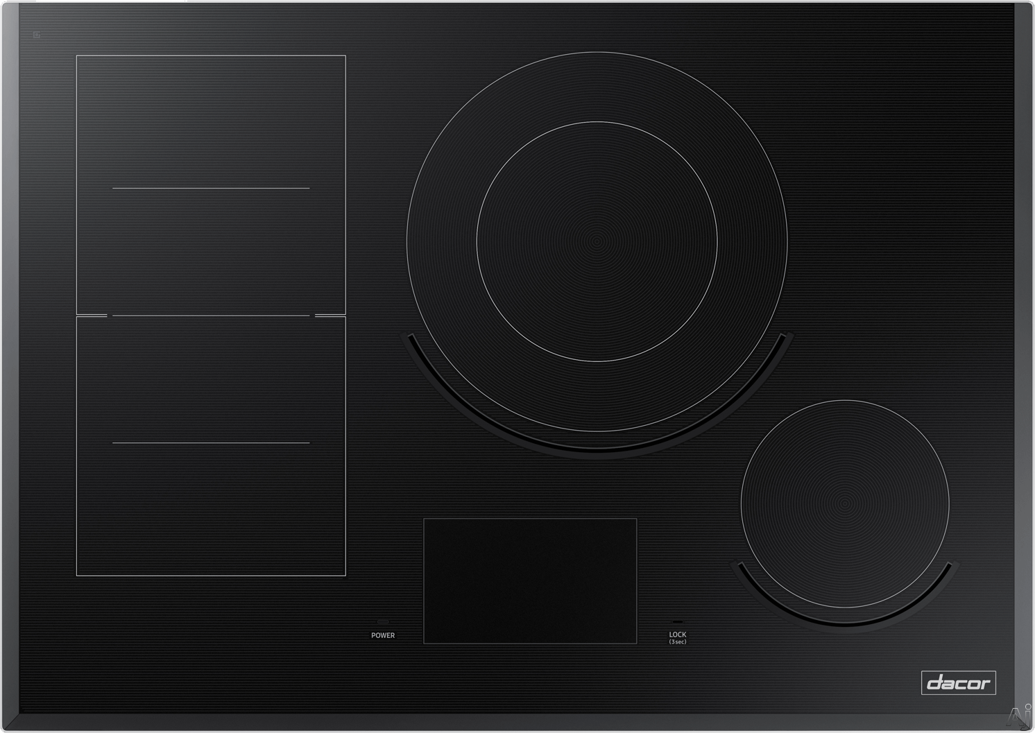 "Dacor Modernist DTI30M977BB 30 Inch Induction Cooktop with iQ Kitchen, Flex Zoneâ""¢, Virtual Flameâ""¢, Hot Surface Indicator, 6 Induction Zones, LCD Control Panel and Child Lock"