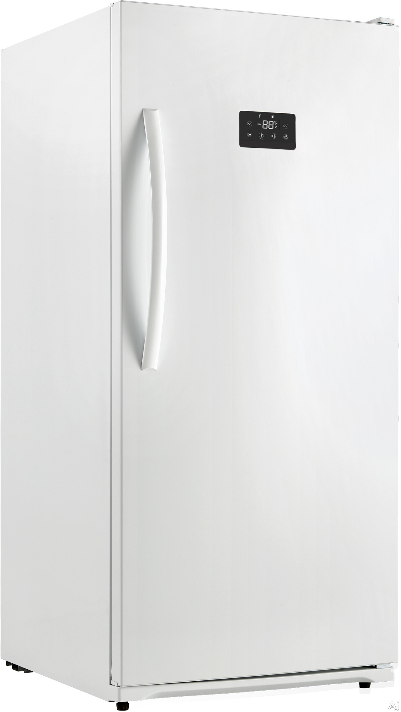 Danby Designer Series DUF138E1WDD 28 Inch Upright Freezer with 13.8 cu. ft. Capacity, Frost Free Design, 4 Wire Shelves, Wire Basket, 5 Door Shelves, Digital Thermostat, Interior Lighting, Quick Freeze Option, Alert Alarms and ENERGY STAR Rated