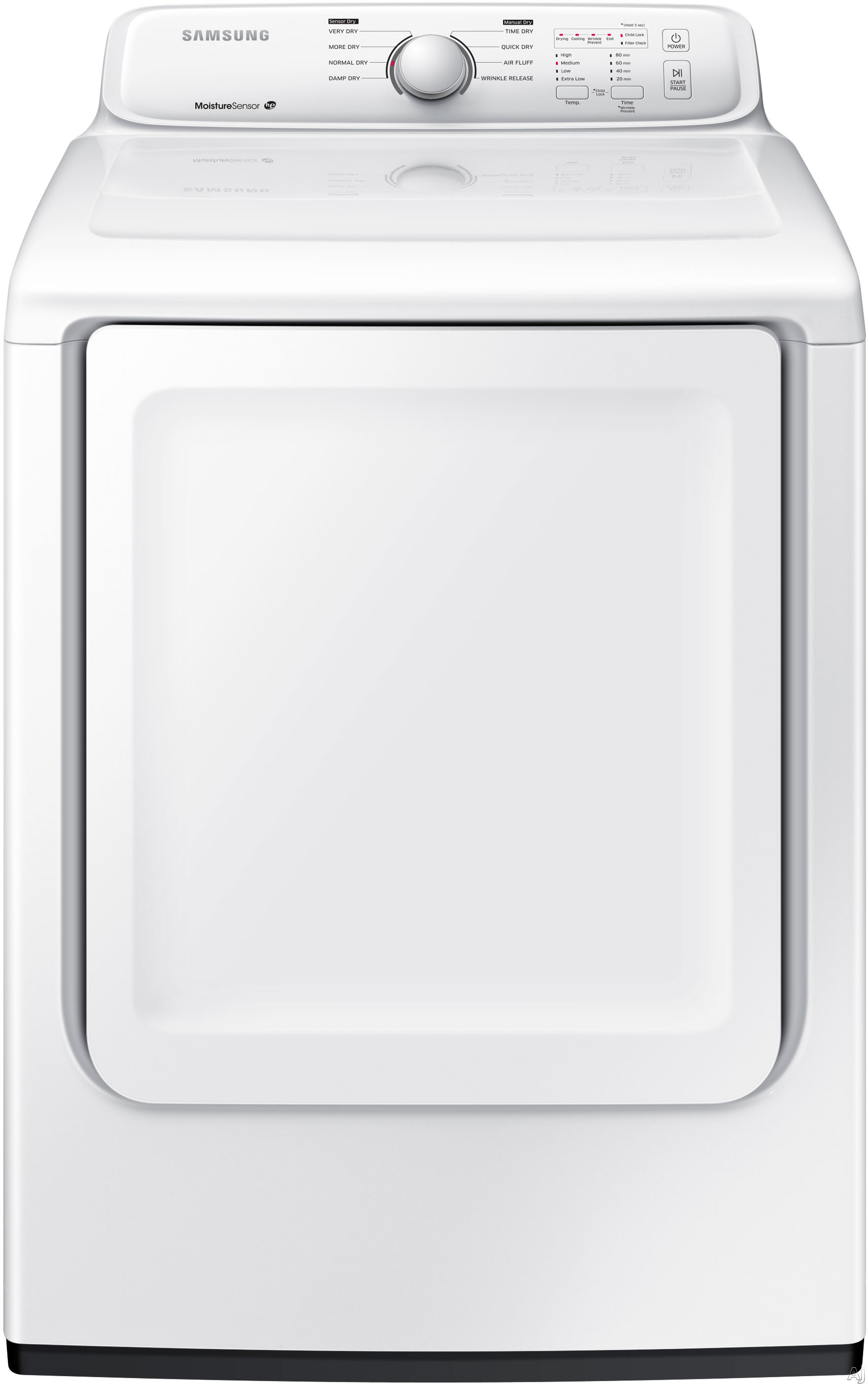 Samsung DV40J3000EW 27 Inch 7.2 cu. ft. Electric Dryer with 8 Dry Cycles, 4 Temperature Settings, Wrinkle Prevent, Lint Filter Indicator, Reversible Door and Sensor Dry Moisture Sensor DV40J3000EW