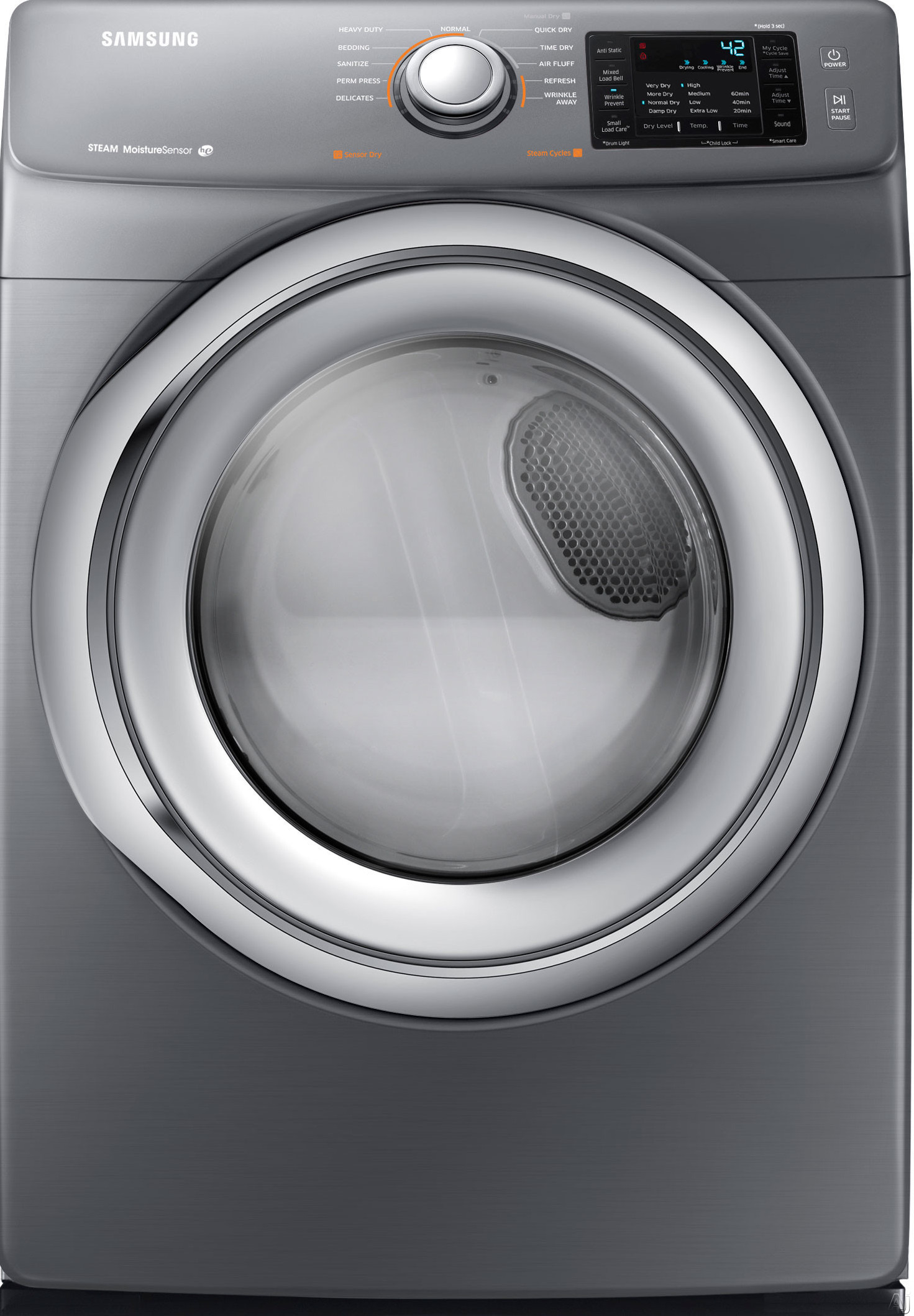 Samsung DV42H5200GP 27 Inch Gas Dryer with Steam, Wrinkle Prevent, Sensor Dry, 11 Dry Cycles, 4 Temperature Settings, Smart Care, Lint Filter Indicator, Reversible Door and 7.4 cu. ft. Capacity: Platinum DV42H5200GP