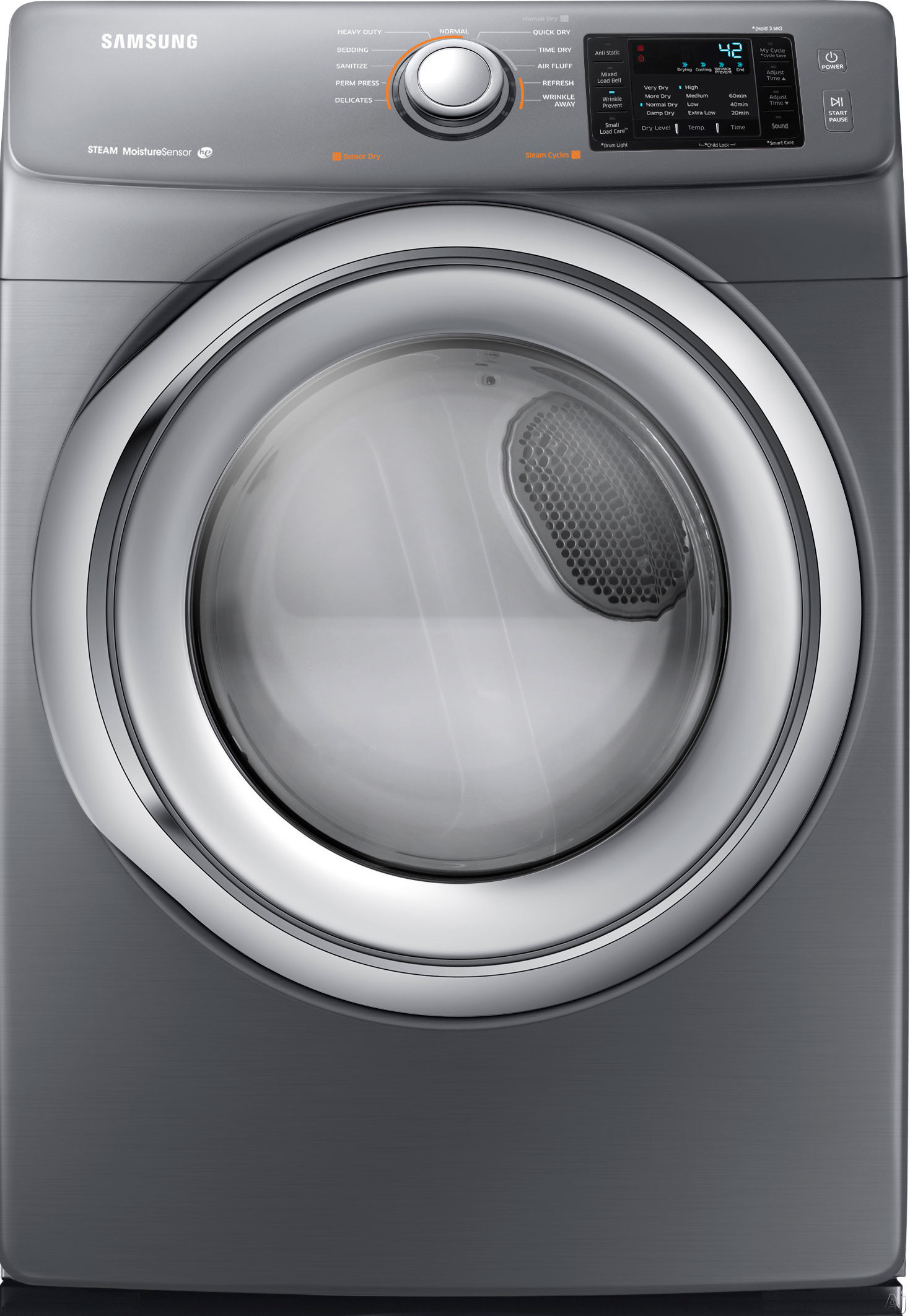 Samsung DV42H5200EP 27 Inch Electric Dryer with Steam Technology, Wrinkle Prevent, Sensor Dry, Smart Care, 11 Dry Cycles, Lint Filter Indicator, Reversible Door and 7.4 cu. ft. Capacity: Platinum DV42H5200EP