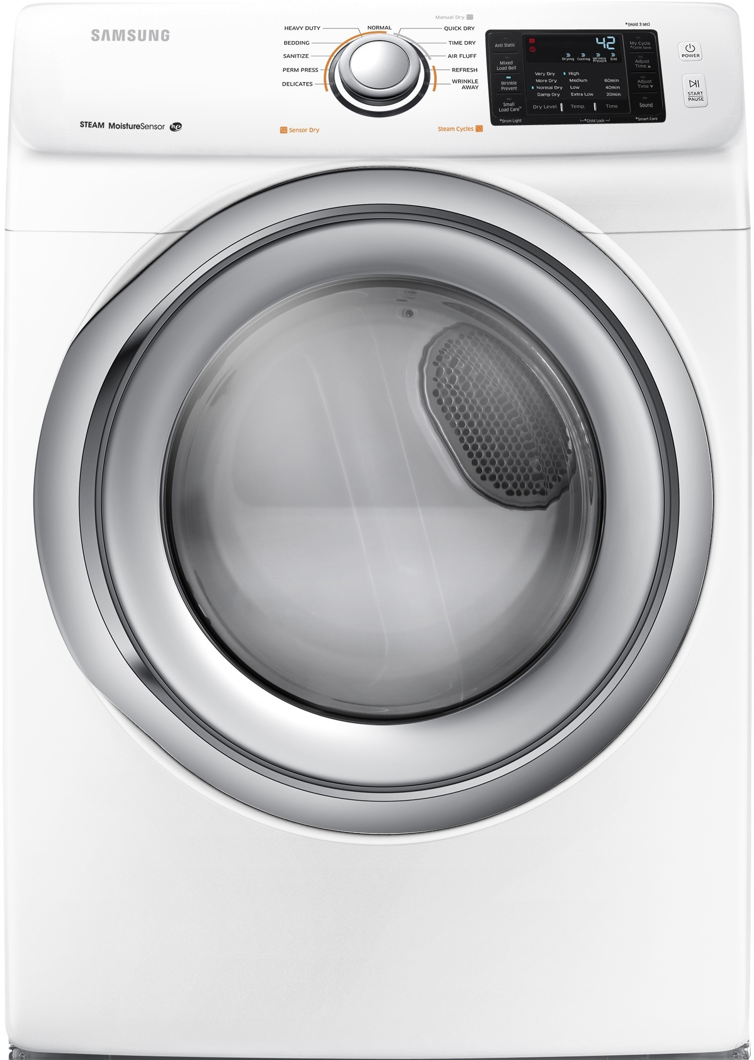 Image of Samsung DV42H5200GW 27 Inch Gas Dryer with Steam, Wrinkle Prevent, Sensor Dry, 11 Dry Cycles, 4 Temperature Settings, Smart Care, Lint Filter Indicator, Reversible Door and 7.4 cu. ft. Capacity: White