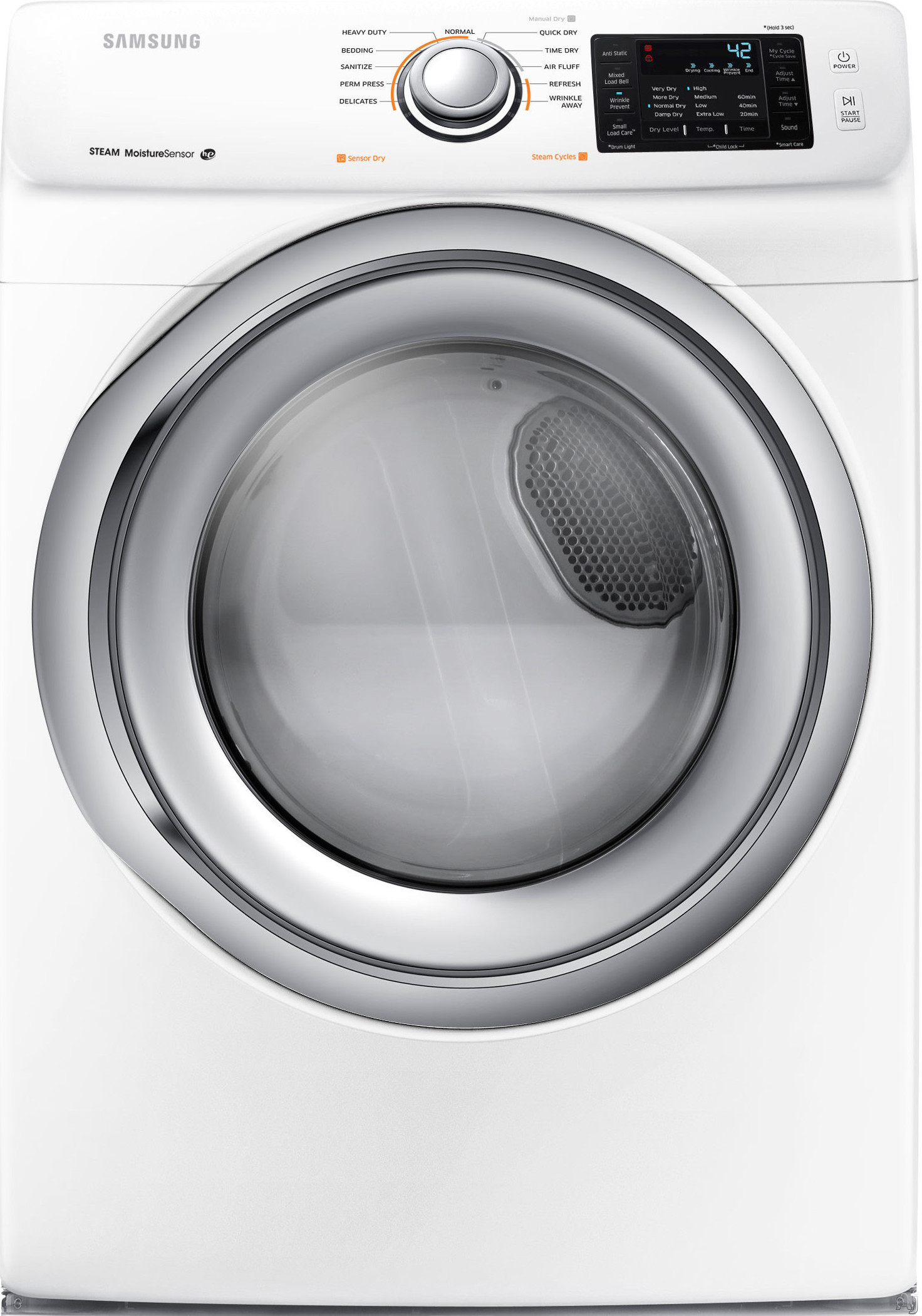 Image of Samsung DV42H5200EW 27 Inch Electric Dryer with Steam Technology, Wrinkle Prevent, Sensor Dry, Smart Care, 11 Dry Cycles, Lint Filter Indicator, Reversible Door and 7.4 cu. ft. Capacity: White