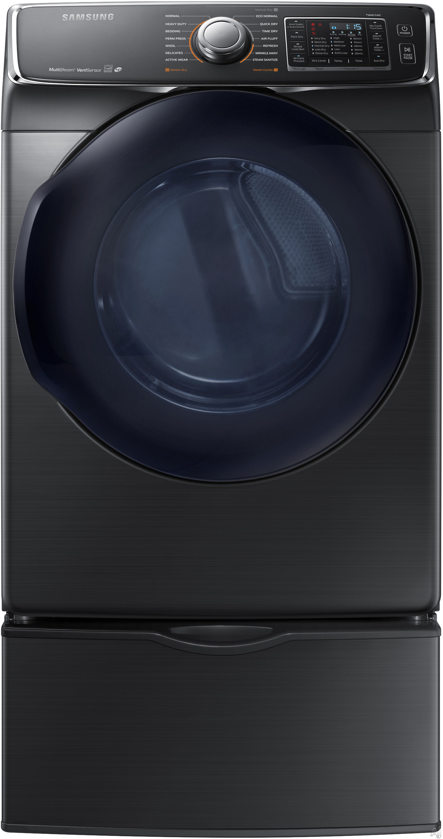 Samsung - 7.5 Cu. Ft. 14-Cycle High-Efficiency Electric Dryer with Steam - Black Stainless DV50K7500EV