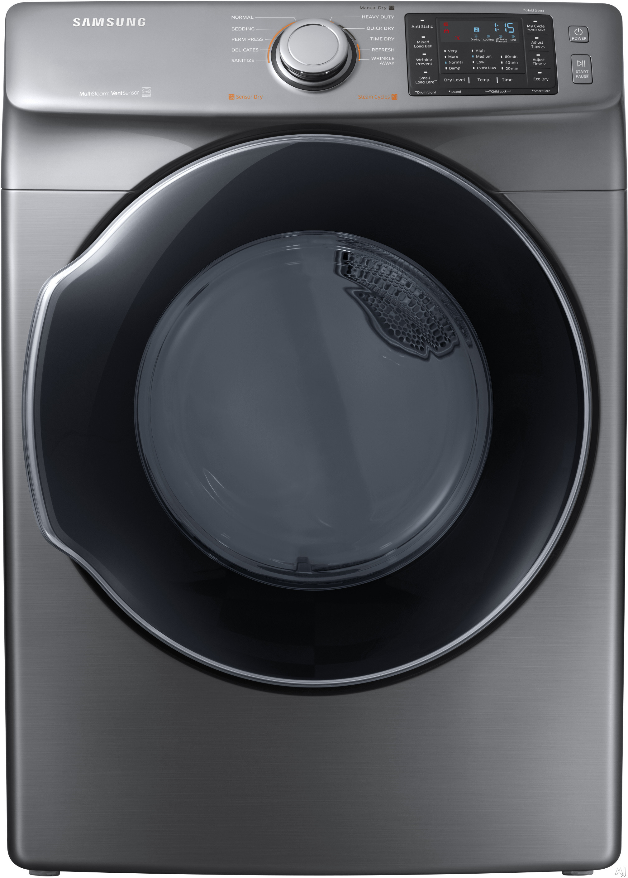 Image of Samsung DVG45M5500P 27 Inch Gas Dryer with Multi-Steam™ Technology, Wrinkle Prevent Option, Sensor Dry, 10 Dry Cycles, My Cycle Options, Anti-Static, Smart Care, 4-Way Venting, Reversible Door, Eco Dry, ENERGY STAR® and 7.5 cu. ft. Capacity: Platinum