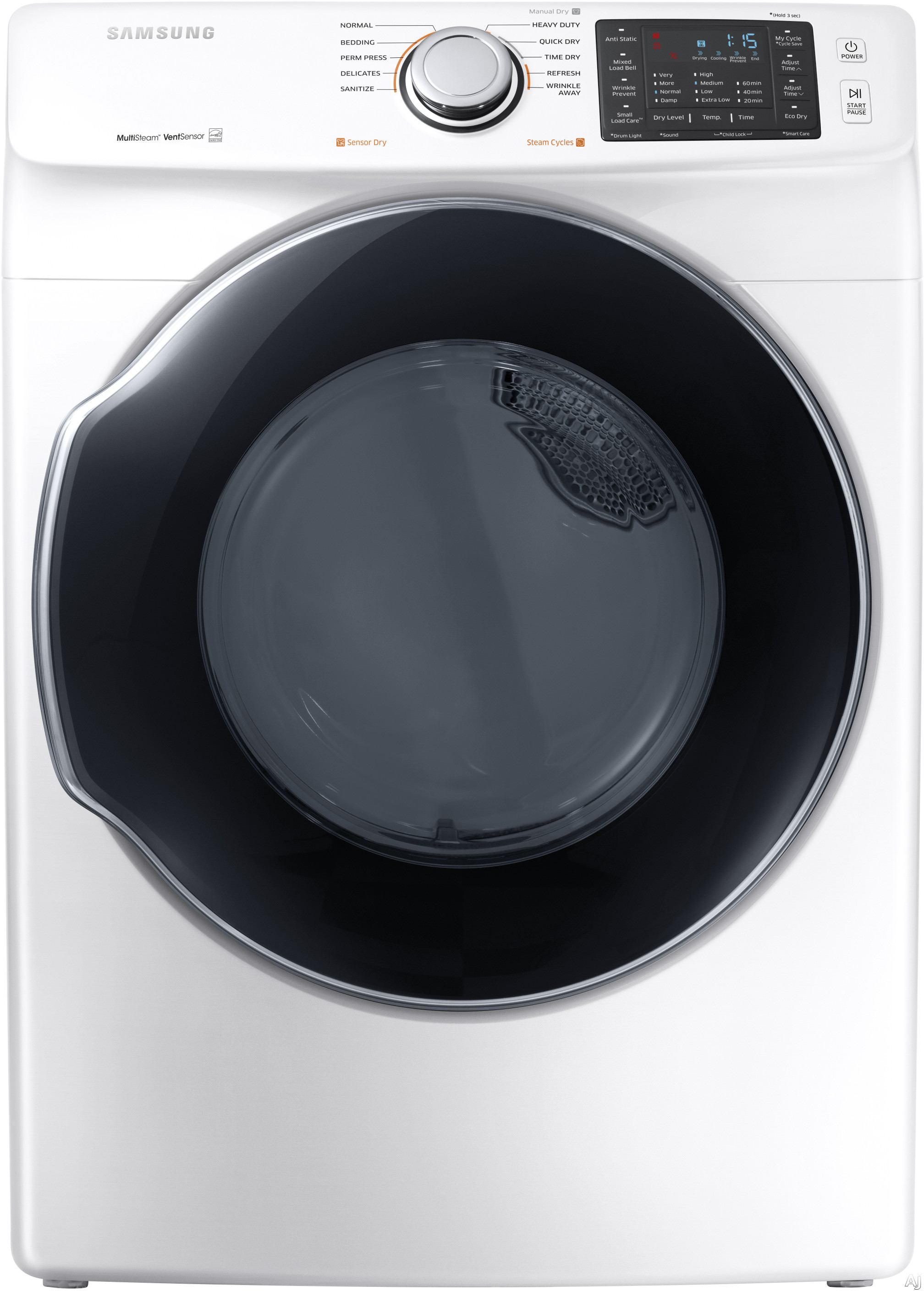 Samsung DVG45M5500 27 Inch Gas Dryer with Multi-Steam™ Technology, Wrinkle Prevent Option, Sensor Dry, 10 Dry Cycles, My Cycle Options, Anti-Static, Smart Care, 4-Way Venting, Reversible Door, Eco Dry, ENERGY STAR® and 7.5 cu. ft. Capacity