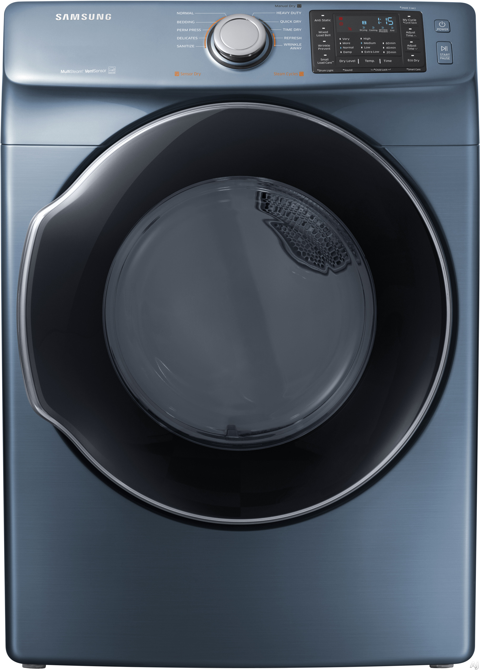 Image of Samsung DVE45M5500Z 27 Inch Electric Dryer with Multi-Steam™ Technology, Wrinkle Prevent Option, Sensor Dry, 10 Dry Cycles, My Cycle Options, Anti-Static, Smart Care, 4-Way Venting, Reversible Door, Eco Dry, ENERGY STAR® and 7.5 cu. ft. Capacity: Azure