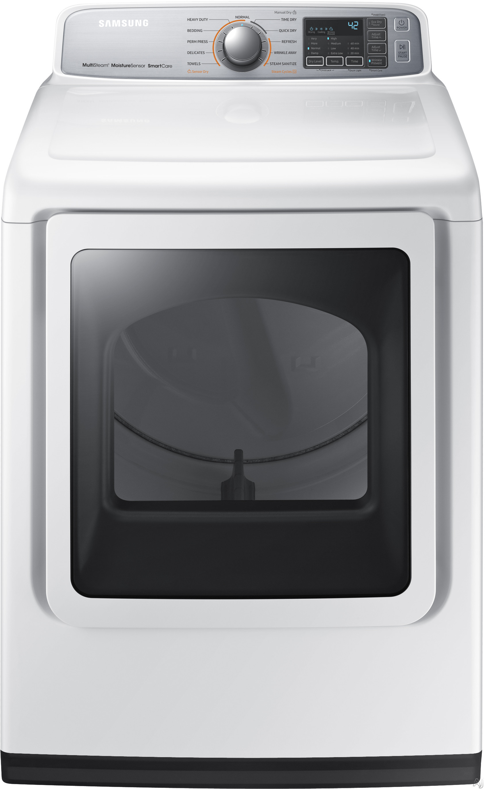 """Image of Samsung DVG50M7450W 27 Inch Gas Dryer with Multi-Steamâ""""¢, Wrinkle Prevent Option, Sensor Dry, 11 Dry Cycles, Smart Care, 4-Way Venting, Interior Drum Light, Eco Dry, Reversible Door and 7.4 cu. ft. Capacity"""