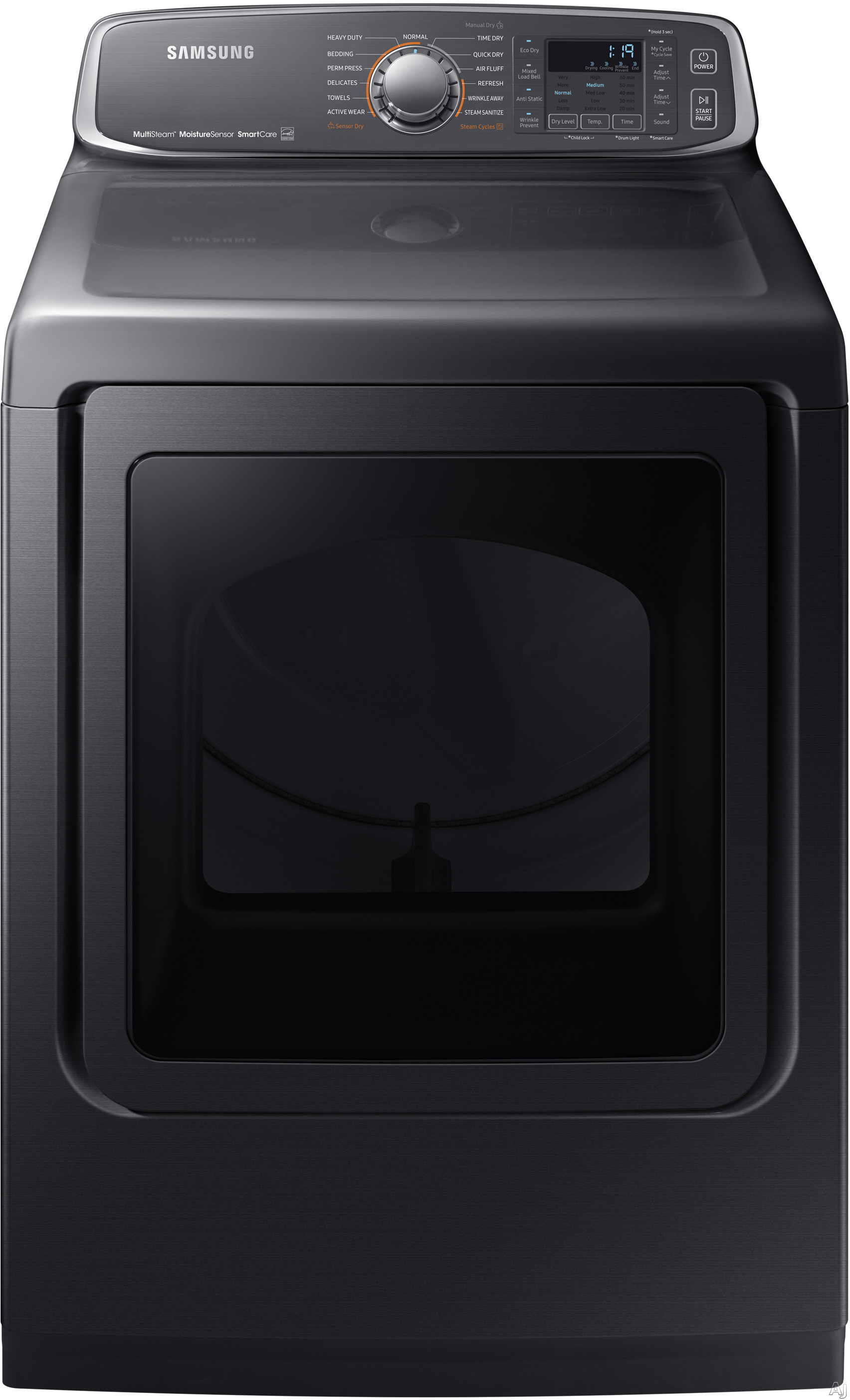 Image of Samsung DVE52M7750V 27 Inch Electric Dryer with Multi-Steam™, Wrinkle Prevent Option, Sensor Dry, 13 Dry Cycles, Smart Care, 4-Way Venting, Interior Drum Light, Eco Dry, Reversible Door, ENERGY STAR® and 7.4 cu. ft. Capacity: Black Stainless Steel