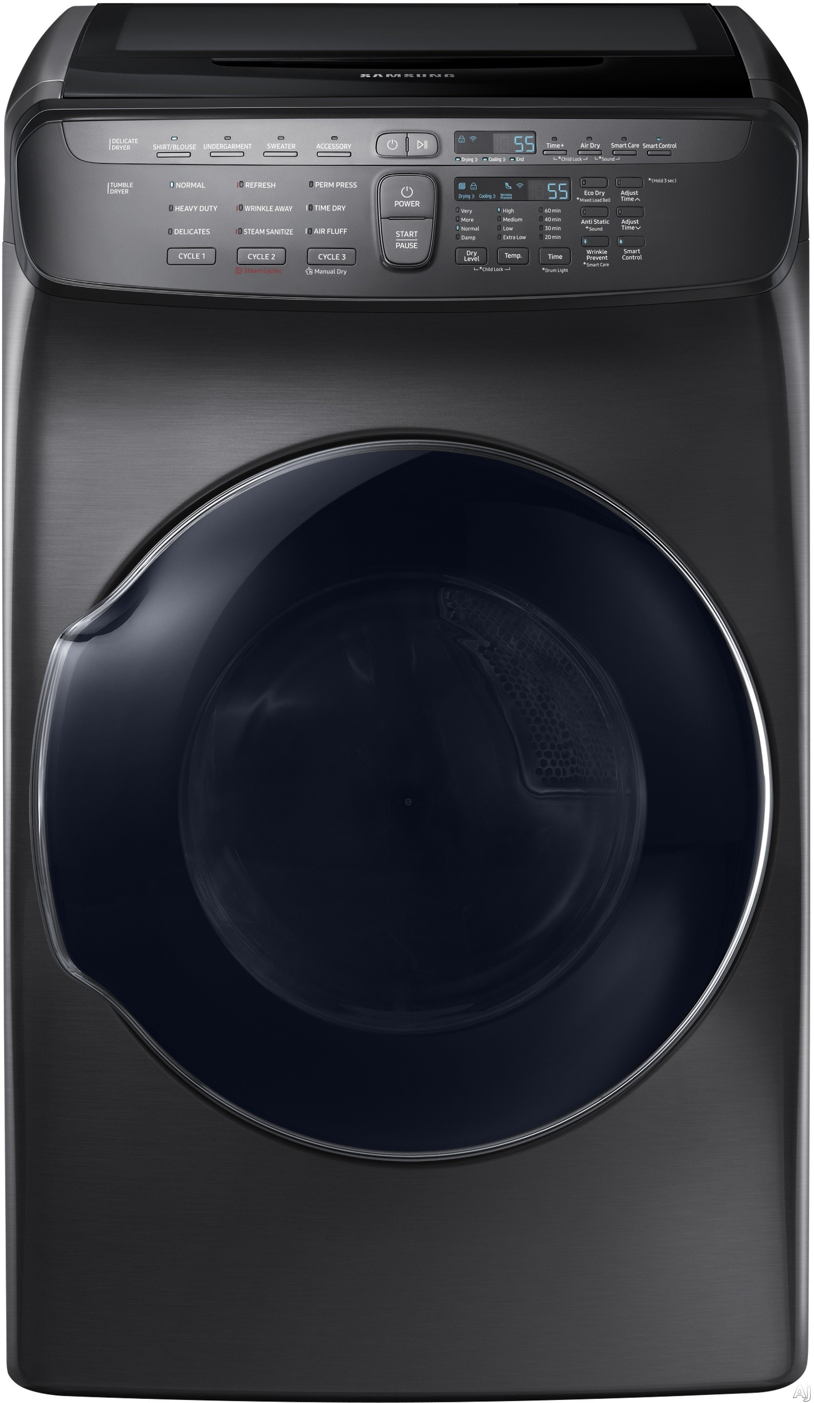 "Samsung FlexWash DVG55M9600X 27 Inch FlexDryâ""¢ Gas Dryer with Multi-Steamâ""¢, Sensor Dry, Wi-Fi Connectivity, 13 Dry Cycles, Wrinkle Release, Anti-Static Option, Smart Care, Eco Dry, Vent Sensor and 7.5 cu. ft. Capacity"