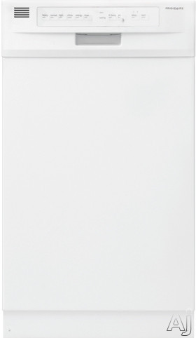 Frigidaire FFBD1821MW 18 Inch Full Console Dishwasher with Energy Saver, High Temperature Wash, China Crystal Cycle, Stainless Steel Tub, 6 Wash Cycles, 4 Wash Levels, dBA 55 Sound Rating, Delay Start