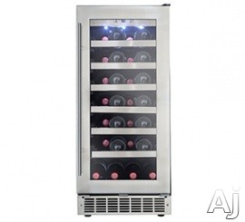 "Danby Silhouette Series DWC031D1BSSPR 15"" Built-In Wine Cellar with 28 Bottle Capacity, 6 Silicon Buffer Wave Storage Shelves, Recessed White LED Lighting, Audible Alarm Alerts and Reversible Door Hinge"