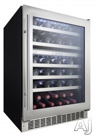 "Danby Silhouette Series DWC053D1BSSPR 24"" Built-In Wine Cellar with 51 Bottle Total Capacity, Dual Temperature, 16 Bottle Upper-Zone Storage, 35 Bottle Lower-Zone Storage, Wave Storage System Shelving, Recessed White LED Lighting, Audible Alarm Alerts an"