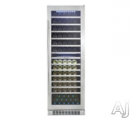 "Danby Silhouette Series DWC140D1BSSPR 23.5"" Built-In Wine Cellar with 129 Bottle Total Capacity, 12 Silicon Buffer Wave Storage System Shelves, Dual Temperature, 54 Bottle Upper-Zone Storage, 75 Bottle Lower-Zone Storage, Recessed White LED Lighting and"