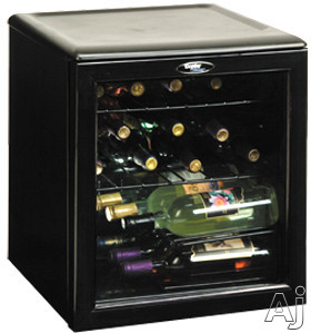 Danby Designer Series DWC172BL 18 Inch Wine Cooler with 17-Bottle Capacity, Slide-Out Wire Wine Racks & Glass Door: Black