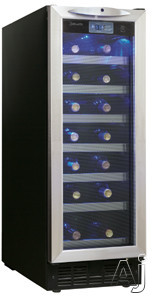 Danby Silhouette Series DWC276BLS 12 Inch Built-in Wine Cooler with 27-Bottle Capacity, 7 Sliding Black Wire Shelves w/ Beechwood Face & Interior Blue LED Display Light: Black with Stainless Steel Door Trim