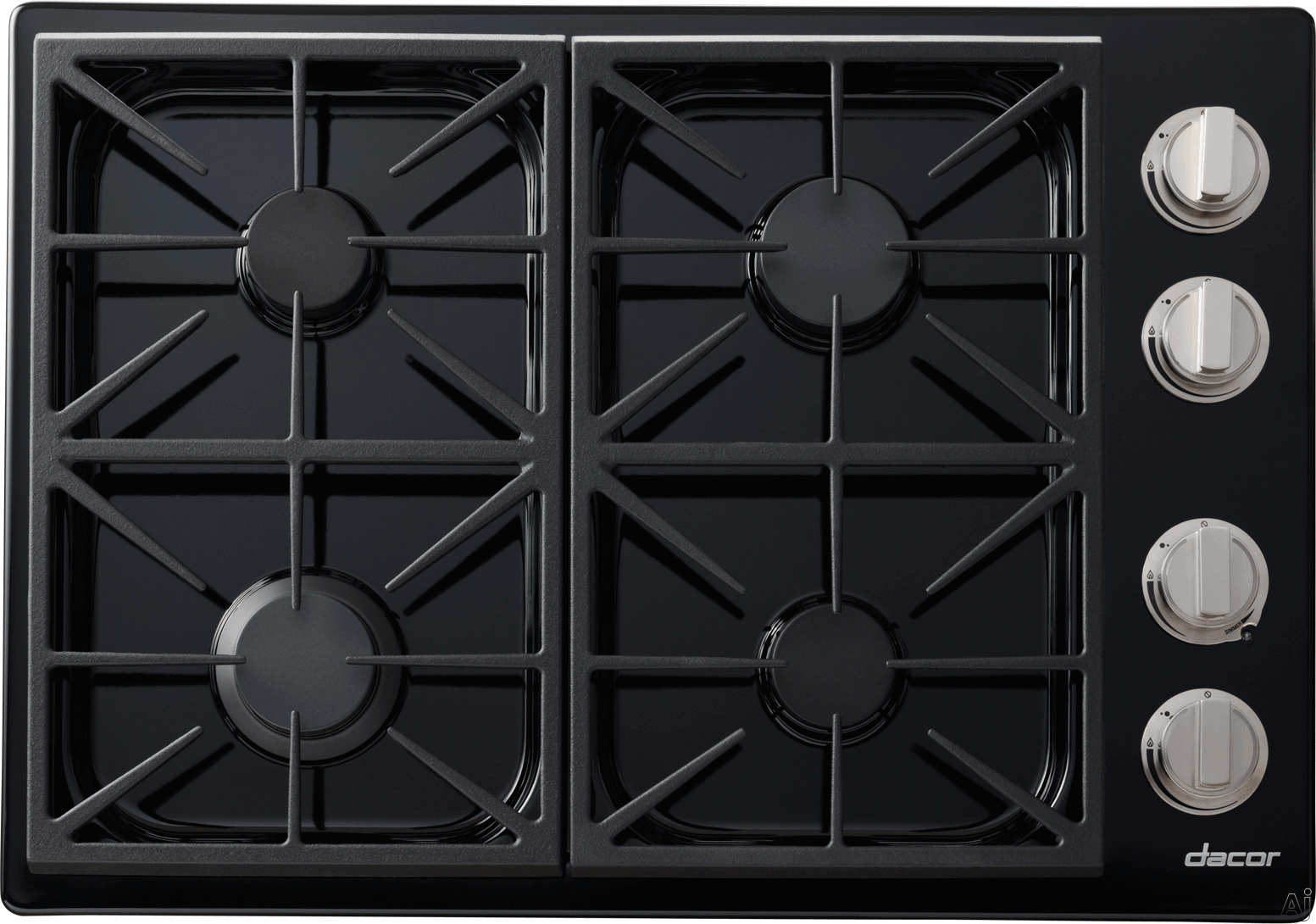 Dacor Discovery DYCT304GBLPH 30 Inch Gas Cooktop with 4 Sealed Burners, 18,000 BTU SimmerSear Burner, Continuous Grates, Scratch Resistant Finish, PermaFlame Technology and Illumina Burner Controls: Black, Liquid Propane, High Altitude