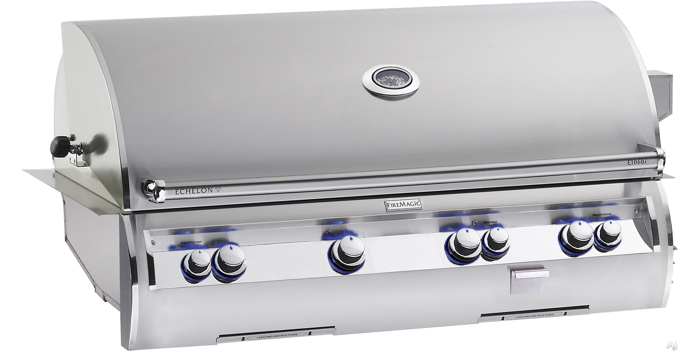 Image of Fire Magic Echelon Collection E1060I4LAN 48 Inch Built-in Gas Grill with 1,056 sq. in. Cooking Surface, 115,000 BTU Primary Burners, 22,000 BTU Back Burners and 3,000 BTU Wood Chip Smoker: Natural Gas, Left-Side Infrared Burner