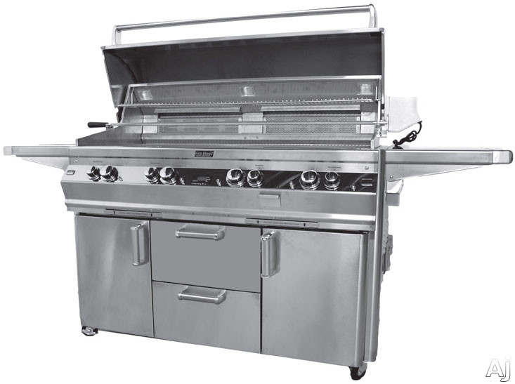 "Fire Magic Echelon Collection E1060S4E1P62W 86"" Freestanding Gas Grill with 1056 sq. in. Cooking Surface, 115,000 Main Burner BTUs, Side Burner, Wood Chip Smoker, Back Lit Knobs and Magic View Window: Liquid Propane"
