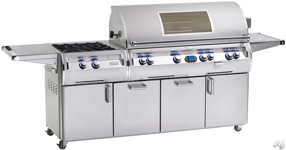 Fire Magic Echelon Collection E1060S4E1P51W 111 Inch Freestanding Gas Grill with 1056 sq. in. Cooking Surface, 112,000 Main Burner BTUs, Wood Chip Smoker, Power Burner, Back Lit Safety Knobs and Magic