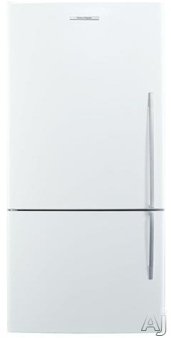 Fisher and Paykel Active Smart E522BLE5 31 Inch Bottom Freezer with 176 cu ft Capacity 4 Adjustable Glass Shelves Gallon Door Storage Humidity Controlled Crispers Independent Temperature Control ActiveSmart Technology LED Lighting and ENERGY STAR White Le
