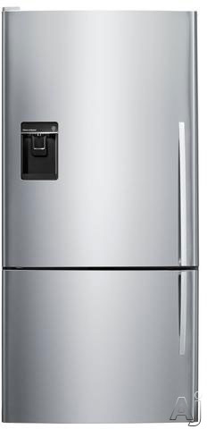 Fisher and Paykel Active Smart E522BLXU5 31 Inch Bottom Freezer with 176 cu ft Capacity 4 Adjustable Glass Shelves Gallon Door Storage 2 Humidity Controlled Crispers LED Lighting ENERGY STAR Certification and Water Dispenser and Ice Maker Left Hinge Door