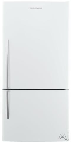 Fisher and Paykel Active Smart E522BRE5 31 Inch Bottom Freezer with 176 cu ft Capacity 4 Adjustable Glass Shelves Gallon Door Storage Humidity Controlled Crispers Independent Temperature Control ActiveSmart Technology LED Lighting and ENERGY STAR White Ri