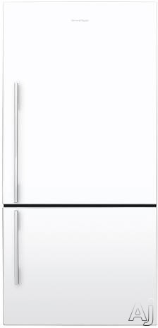 Fisher and Paykel Active Smart E522BRWFD5 31 Inch Counter Depth Bottom Freezer Refrigerator with 176 cu ft Capacity 2 Adjustable Glass Shelves Bottle Chill Feature Roll Out Freezer Trays ActiveSmart Technology and Sabbath Mode