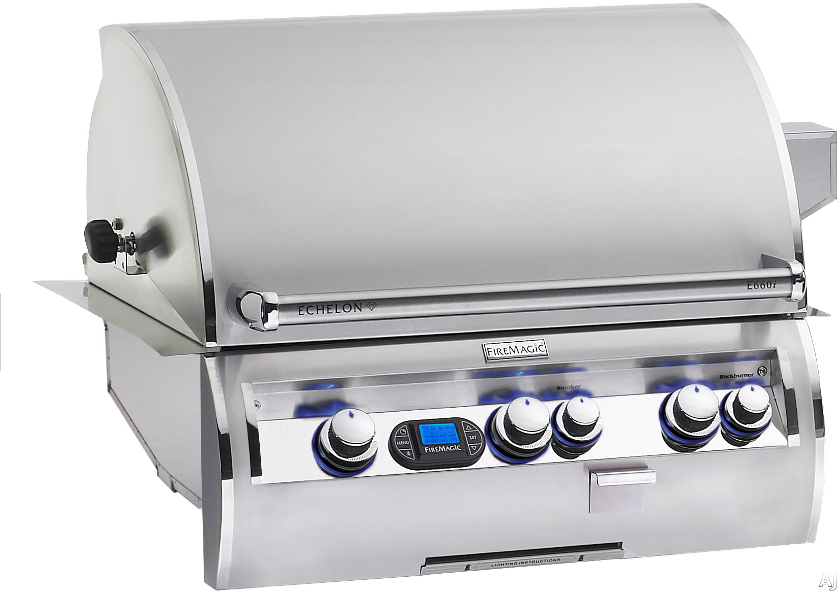 Fire Magic Echelon Collection E660I4A1N 30 Inch Built-in Gas Grill with 660 sq. in. Cooking Surface, 78,000 BTU Primary Burners, 11,000 BTU Back Burner and 3,000 BTU Wood Chip Smoker: Natural Gas, Dig