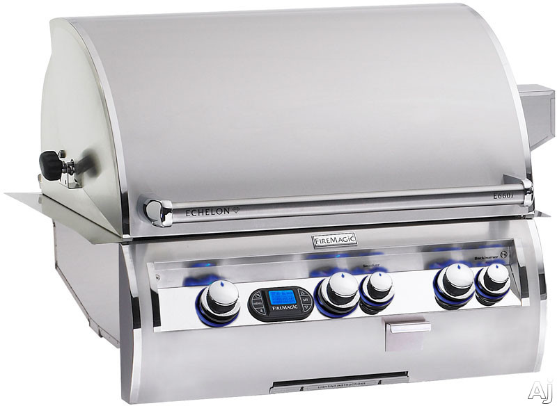 "Fire Magic Echelon Collection E660I4L1N 31"" Built-in Gas Grill with 660 sq. in. Cooking Surface, 97,000 Total BTUs, Wood Chip Smoker, Back Lit Safety Knobs and One Infrared Burner: Natural Gas"