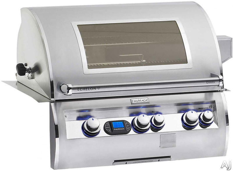 """Fire Magic Echelon Collection E660I4E1PW 31"""" Built-in Gas Grill with 660 sq. in. Cooking Surface, 97,000 Total BTUs, Wood Chip Smoker, Back Lit Safety Knobs and Magic View Window: Liquid Propane"""