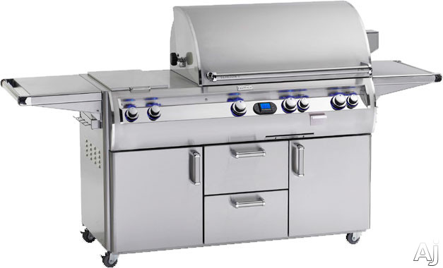 Fire Magic Echelon Collection E660S4EAP71 86 Inch Freestanding Analog Gas Grill with 660 sq. in. Cooking Surface, 78,000 BTU Stainless Steel Primary Burners, 11,000 Secondary Burners and 3,000 Smoker