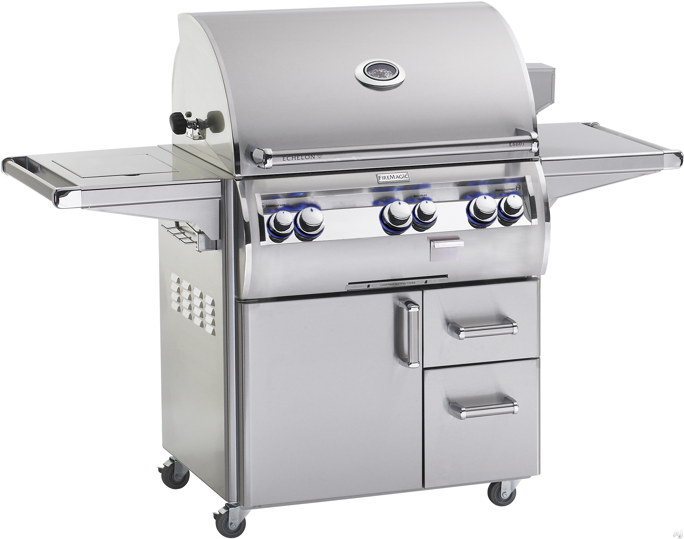 Fire Magic Echelon Collection E660S4EAN62 68 Inch Freestanding Analog Gas Grill with 660 sq. in. Cooking Surface, 78,000 BTU Stainless Steel Primary Burners, 11,000 Secondary Burners and 3,000 Smoker