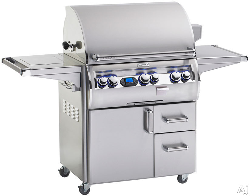 "click for Full Info on this Fire Magic Echelon Collection E660S4E162 31"" Freestanding Gas Grill with 660 sq in Cooking Surface  78 000 Main Burner BTUs  Wood Chip Smoker  Back Lit Knobs  Digital Thermometer and Single Side Burner"