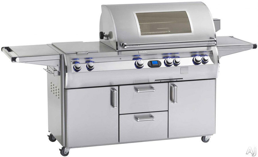 Fire Magic Echelon Collection E660S4E1N71W 86 Inch Freestanding Gas Grill with 660 sq. in. Cooking Surface, 30,000 BTU Double Side Burner, Wood Chip Smoker, Heat Zone Separators and Viewing Windows: N