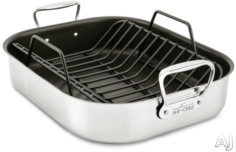 All Clad E751S264 Large Nonstick Roasting Pan with Roasting Rack, Polished Stainless Steel, Non-Stick, Oven Safe, Stainless Steel Handles, Dishwasher Safe and Limited Lifetime Warranty